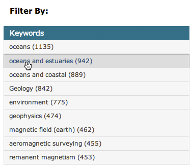 Filter section by keywords | Science Data Catalog