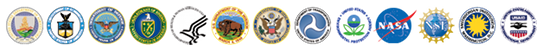 Thirteen Agency logos: Department of Agriculture, Department of Commerce, Department of Defense, Department of Energy, Department of Health and Human Services, Department of the Interior, Department of State, Department of Transportation, Environmental Protection Agency, National Aeronautics and Space Administration, National Science Foundation, The Smithsonian Institution, and U.S. Agency for International Development