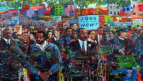 Portion of a colorful mural showing Dr. King marching at the front of a large crowd of protestors