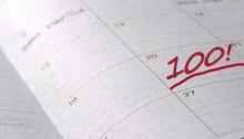 """One date on a calendar has written on it """"100!"""""""