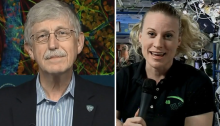 Split screen images: Dr. Collins on the left, Kate Rubins of NASA on the right