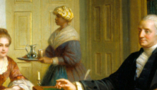 A portion of an oil painting showing a seated George Washington with an enslaved woman holding a tray in the background.