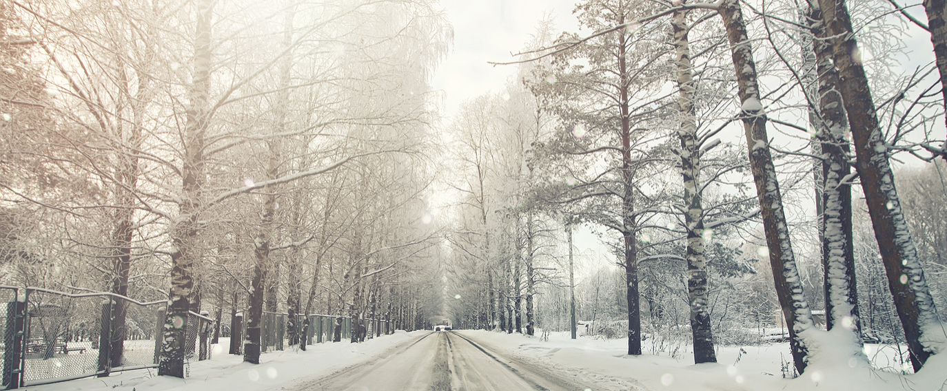 road in the snowy storm winter