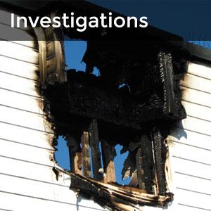 Investigations - burnt side of building
