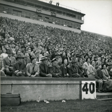 Original Caption: View of crowd at football game, Michigan State College vs Maryland at East Lansing, October 1950. Local ID: 306-PS-515-S-50-15032