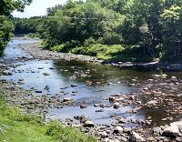 Picture of low flow at Piscataquis River near Dover-Foxcroft, Maine