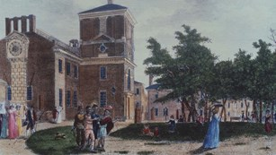 Print of Independence Square (1799) showing Native Americans and others strolling through the yard.