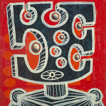 Painting by Carl Pao titled Ki'i Kupuna Makawalu. On brilliant red background, a square form with egg-shaped cut-outs surround a circular form. This cut-out square is held up on a cylindrical column set into a square base at the bottom.