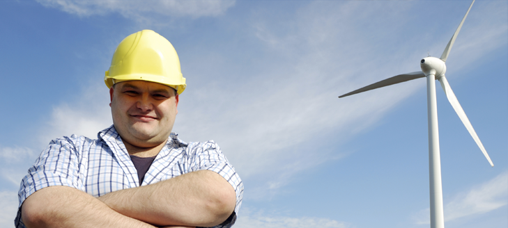 Worker and windmill