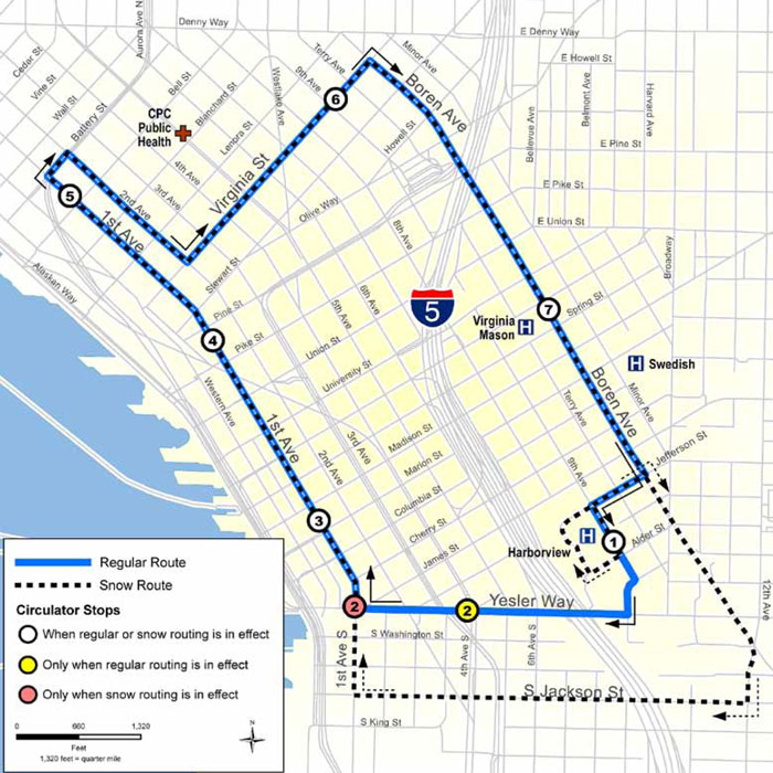 Free Downtown Circulator Bus Route (operated by Solid Ground)