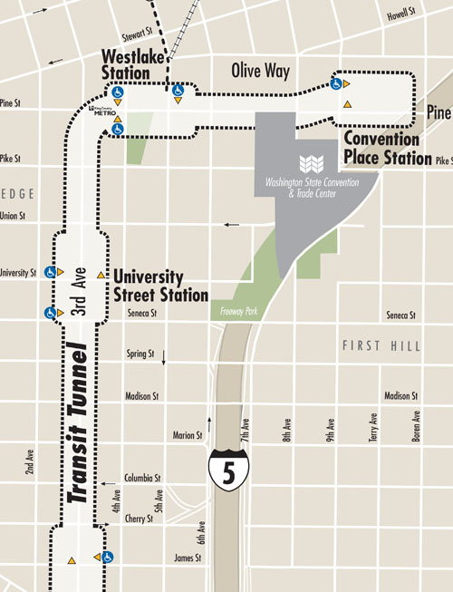 Downtown Seattle Transit Tunnel Map