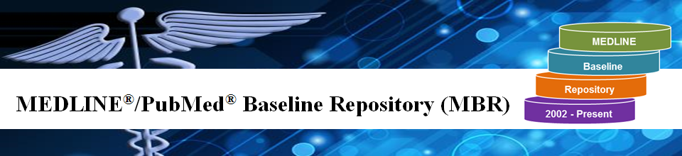 Medline/PubMed Baseline Repository Home page logo.  Four disks that represent databases with the words MEDLINE, Baseline, Repository, and 2002 - Present in the disks to show that we have baseline information starting in 2002.