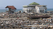 Devastation of the coastal city of Banda Aceh, Indonesia, after the 2004 Indian Ocean tsunami.