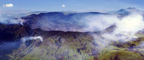 Aerial view of the caldera of Mt. Tambora, island of Sumbawa, Indonesia