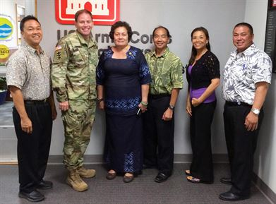 American Samoa Congressional Representative Aumua Amata Coleman Radewagen had an office call with District Commander Lt. Col. James Hoyman and other District leaders and project managers Aug. 8 to discuss ongoing and potential future projects in the island territory.