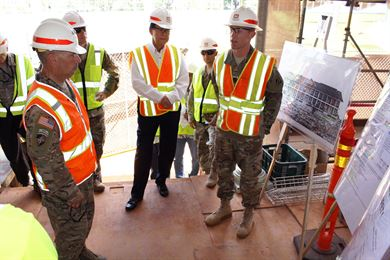 Honolulu District hosted site visits July 12 for the U.S. Army Corps of Engineers Commander Lt. Gen. Todd T. Semonite to our Bldg. 112 renovation (shown here) and USARPAC Mission Command Facility (MCF) at Fort Shafter.  Semonite was briefed on the historical significance of the building and renovation techniques being used to preserve the building.  Semonite was in Hawaii to preside over the Pacific Ocean Division Change of Command ceremony.