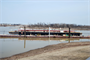 Ensley Engineer Yard and Marine Maintnenace Center's Plant Section in operation. With revetment season over, Revetment Mooring Barge 7401 sits on dry dock 5801 for minor repairs. (USACE Photo/Brenda Beasley)