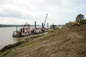 The Motor Vessel Goodwin tends the Clearing & Snagging Unit at Bauxippi-Wyanoke revetment site near West Memphis. (USACE Photo/Brenda Beasley)