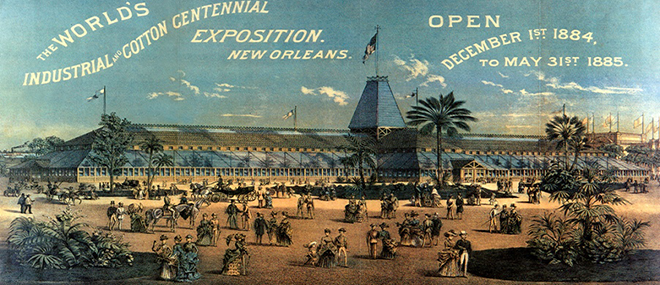This poster depicts the scene of the 1884 World's Fair, the Industrial and Cotton Centennial Exposition, in New Orleans.