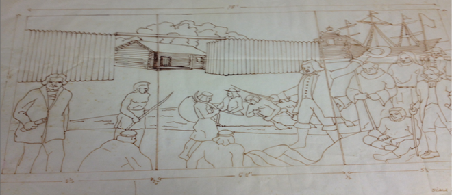 This sketch by artist Al Lavergne depicts one of the five panels on the façade of the Louisiana State Archives.