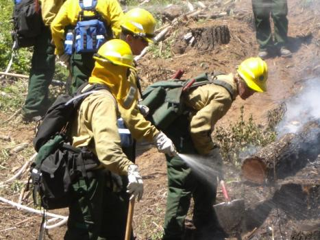 Firefighters mop up a wildland fire