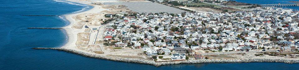 Aerial view of coastal community