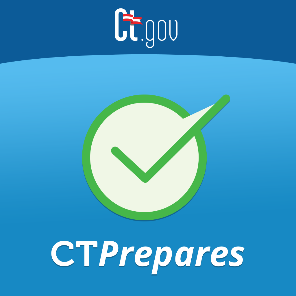 CT Prepares - Check mark, access emergency information and alerts