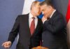 BUDAPEST, Feb. 18, 2015 Russian President Vladimir Putin (L) talks with Hungarian Prime Minister Viktor Orban during a press conference after their meeting in Budapest, Hungary, on Feb. 17, 2015. Russian President Vladimir Putin paid a brief visit to Hungary on Tuesday as the European Union increased its sanctions against Moscow and a fragile cease-fire took shape in Ukraine. (Xinhua/Attila Volgyi) (Credit Image: ZUMAPRESS.com/Global Look Press)