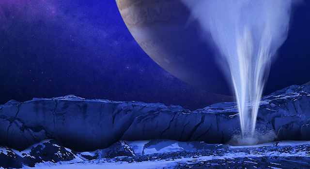 This is an artist's concept of a plume of water vapor thought to be ejected off the frigid, icy surface of the Jovian moon Europa