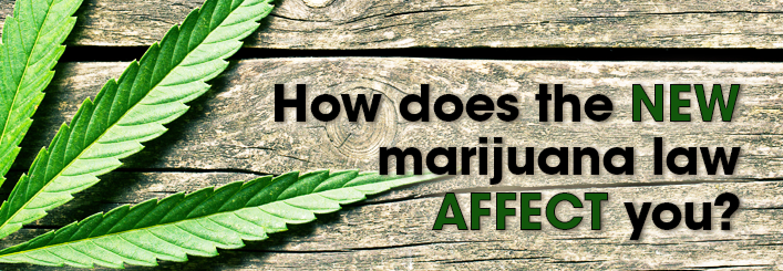 "A marijuana leaf on a rustic wood backdrop with the words, ""How does the new marijuana law affect you?"""