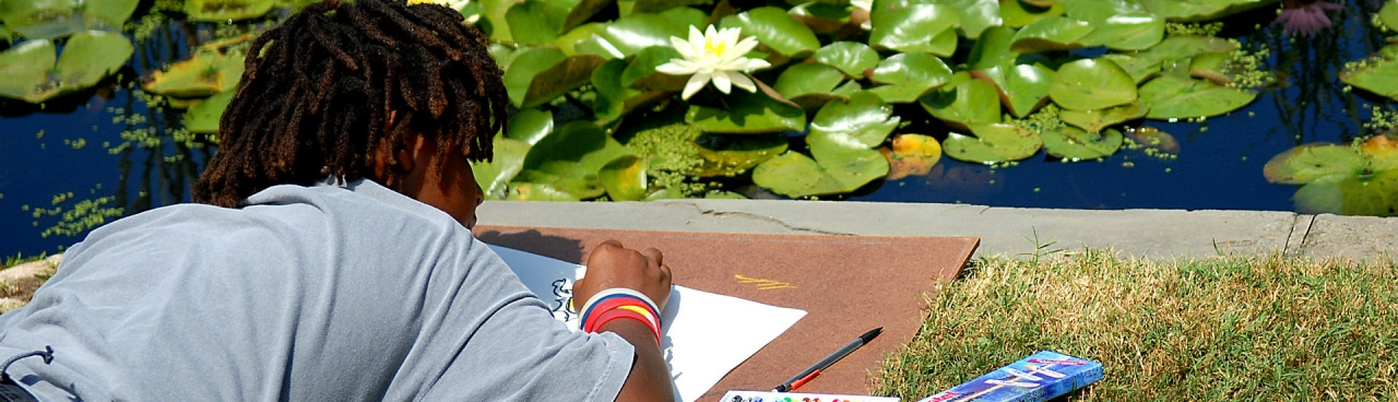 A National Park Service Junior Ranger draws lily pads.