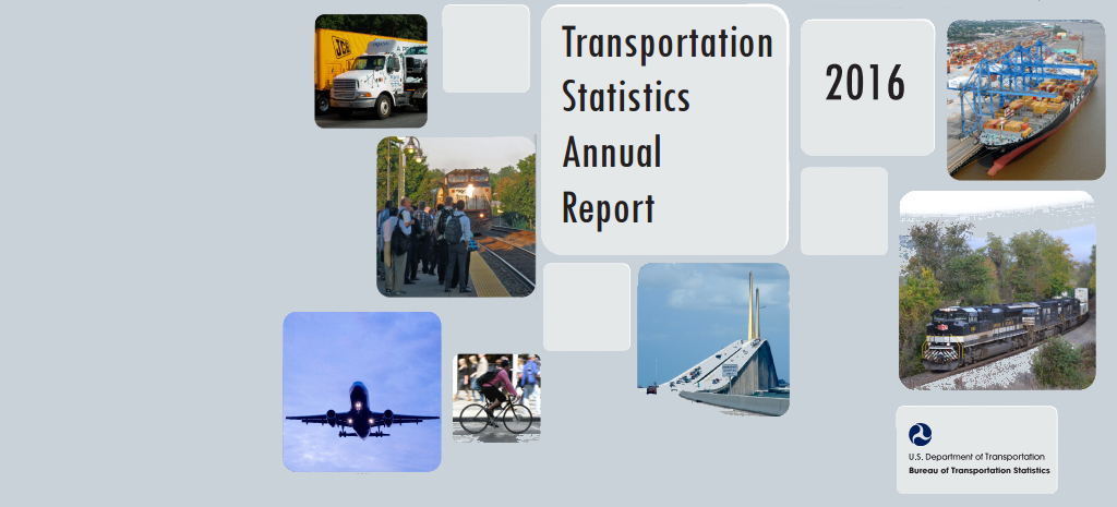 A screen capture of the Transportation Statistics Annual Report cover