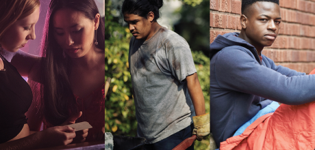 Two girls in a club, a laboring man working in landscaping, and a teenager in a sleeping bag on the street.