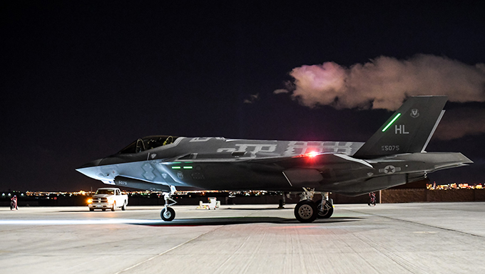An F-35A Lightning II piloted by Lt. Col. Yosef Morris, a 388th Fighter Wing pilot, taxis during Red Flag 17-1 at Nellis Air Force Base, Nev., Feb. 3, 2017. Morris flew the 2,000th sortie during the Air Force's premier air-to-air combat training exercise. This is the first deployment of the F-35A to a Red Flag. Maintainers and pilots from the 388th and 419th Fighter Wings from Hill Air Force Base, Utah, deployed the fifth-generation fighter to Nellis AFB Jan. 20, 2017. (U.S. Air Force photo/R. Nial Bradshaw)