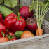 produce in a wooden box