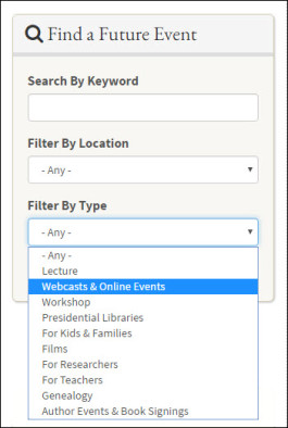 Screenshot of calendar's Find a Future Event filtering function
