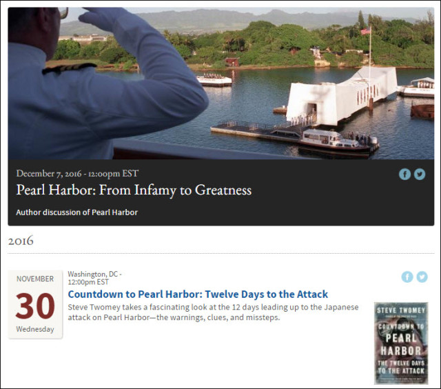 "Screenshot of events list, featuring image from the event ""Pearl Harbor: From Infamy to Greatness"""