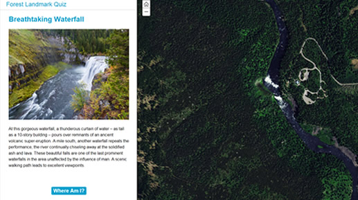 Screen shot of a breathtaking waterfall with a map to the right of it.