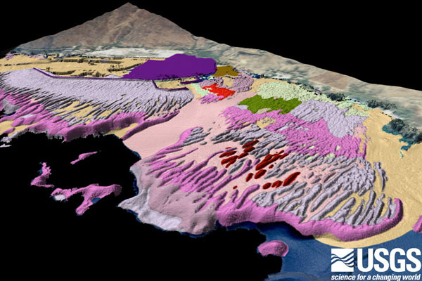 Oblique map of seafloor habitats off Kawaihae, Hawaii, developed from satellite imagery, underwater towed video, and lidar bathymetry.  Image credit: Susan Cochran, USGS.