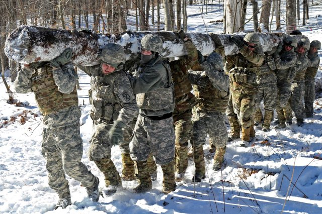 U.S. Army Soldiers assigned to the 572nd Engineer Battalion, 86th Infantry Brigade Combat Team (Mountain), Vermont National Guard, hoist a log from the woods in preparation for building a log crib at Camp Ethan Allen Training Site, Jericho, Vt., Feb. 9, 2017. Setting up a series of log cribs slows down vehicles along a road in remote locations.
