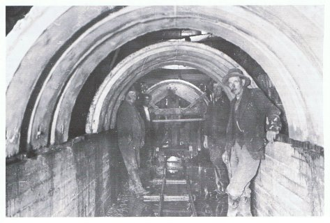 Internal view of sewer tunnel