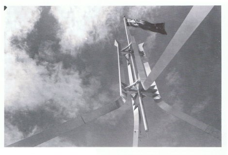 Stainless steel flagmast and supporting leg