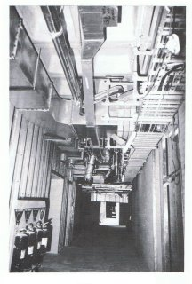 Ceiling services in a first-floor corridor