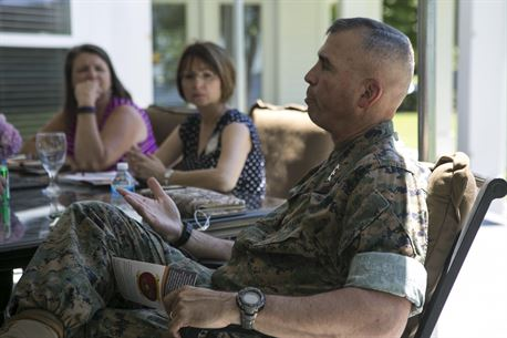 "Lt. Gen. John E. Wissler, commander of U.S. Marine Forces Command, attends a ""Protect What You've Earned"" meeting with Family Readiness Officers from II Marine Expeditionary Force at Camp Lejeune, N.C., June 8, 2016. (U.S. Marine Corps photo by Lance Cpl. Samantha A. Barajas)"
