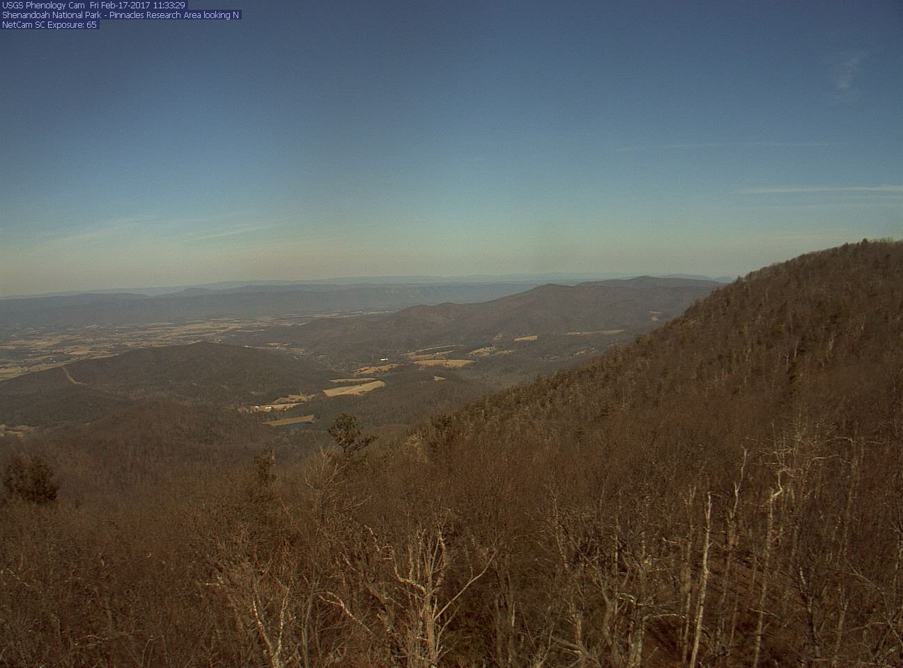 View of a portion of the Shenandoah Valley area at the Pinnacles Research site.