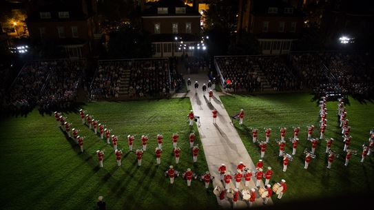 """Pictured from above, """"The Commandant's Own"""" performs a concert during a Friday evening parade. (U.S. Marine Corps photo by Staff Sgt. Oscar L. Olive/Released)"""