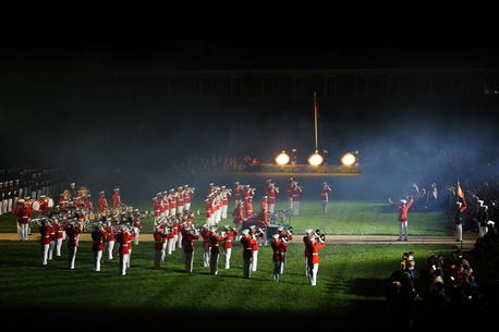 """""""The Commandant's Own,"""" The United States Marine Drum & Bugle Corps performs 'Ode to Joy' during the Friday Evening Parade at Marine Barracks Washington, DC on Friday, May 27th. 'Ode to Joy' is performed with a saluting battery from the Marine Corps Body Bearer Section and concludes with a finale' of cannon fire. (Official Marine Corps Photo/ Released)"""