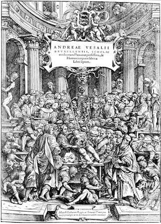 Woodcut depicting Renaissance physician Andreas Vesalius teaching anatomy, from the title page of the first edition of De humani corporis fabrica libri septem (1543).