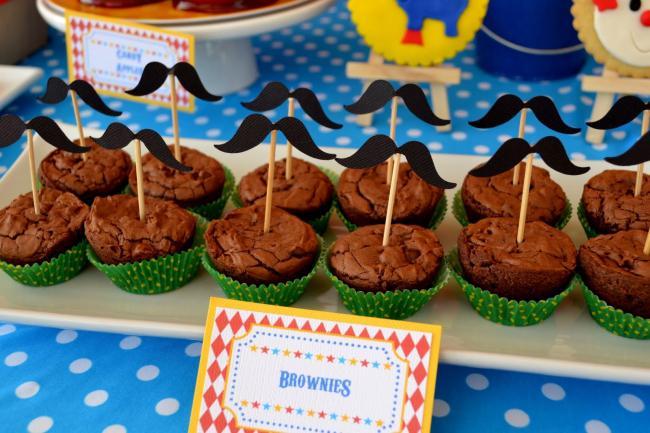 Boys Circus Themed Birthday Party Food Dessert Brownie Ideas