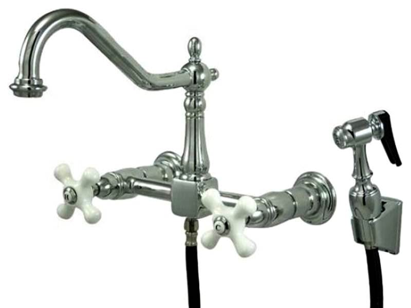 Image of: Wall Mount Kitchen Faucet with Spray